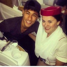 Ney with a fan in the airplane...15.07.2015