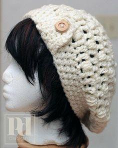 bohemian crochet hat pattern | Ladie's Chunky Slouchy Bobble Hat w/Brim Crochet PDF Pattern on Wanelo