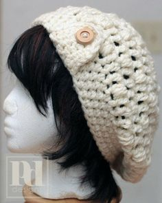 bohemian crochet hat pattern | Ladie's Chunky Slouchy Bobble Hat w/Brim Crochet PDF Pattern on Wanelo
