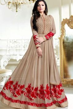 Buy Drashti Dhami light brown color georgette party wear anarkali kameez in UK, USA and CanadaSemi-stitched beige faux georgette abaya style anarkali suit with stone works enhancing the embroidered floral patterns on the lower part of the kameez. Indian Gowns Dresses, Eid Dresses, Party Wear Dresses, Pakistani Dresses, Indian Outfits, Evening Dresses, Abaya Fashion, Indian Fashion, Fashion Dresses