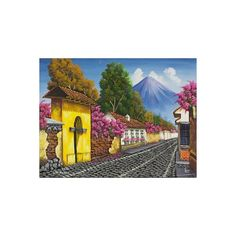 NOVICA Signed Painting in Oils of a Guatemalan Town ($97) ❤ liked on Polyvore featuring home, home decor, wall art, paintings, realist paintings, wall street art, novica paintings, inspirational paintings, canvas paintings and oil painting