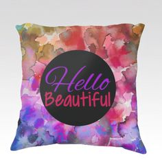HELLO BEAUTIFUL Floral Ombre Fine Art Decorative Velveteen Throw Pillow Cover by EbiEmporium, Colorful Abstract Watercolor Painting Rainbow Ombre Purple Pink Red Hello Beautiful Fun Whimsical Quote Typography Design Modern Home Decor Bedroom Bedding Dorm Living Room Style #chic #feminine #girlydecor #girly #decor #homedecor #cushion #pillow #pillowcover #decorative #throwpillow #hellobeautiful #beautiful #rainbow #ombre #dorm #style #typography #teen #teengirl #confidence #positivity #quote