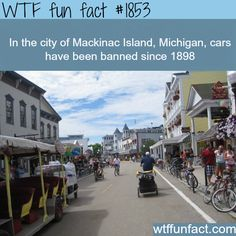 Mackinac Island, Michigan facts about places - WTF fun facts I have been there and there really is no cars. ** I read a book based on this island and it's ?lilac? festival.