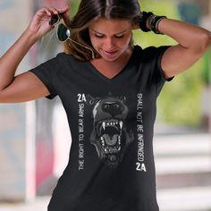 The Right to Bear Arms. Shall Not Be Infringed. Women's: Anvil Ladies' V-Neck T-Shirt. Black.  #loyalnineapparel #loyalnineclothes #country #girlswithguns #tshirt #nra #2ndamendment #fashionista #threepercent #tee #comeandtakeit #guns #womensshirt #comeandtake #cute #countrygirl #instagood #threepercenter #beararms #progun #c #patrioticwomen #gun #2a #righttobeararms #colddeadhands #womenwhoshoot #fashion #girlsandguns #girlsthatshoot