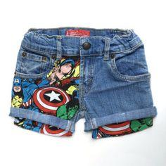 VENTE! Les enfants Super héros patché Shorts en Jean, Marvel Shorts en Jean rapiécé, Levis Vintage Short en jeans 2 t-7 t