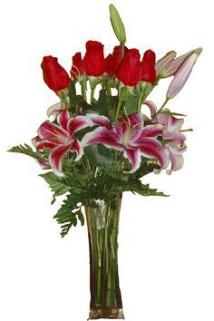 Arreglo en base de vidrio con Rosas Rojas y Liliums