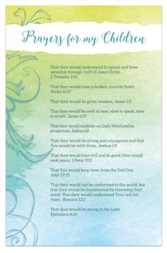 Free Prayers for Your Children Printable