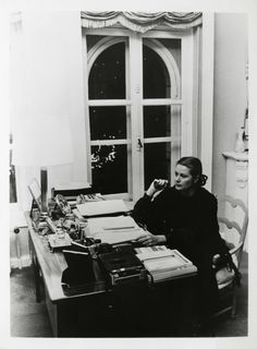 Princess Grace in her office at the Princely Palace, photographed by Ralph Crane.