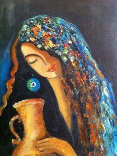 أعمال فنية بلمسات عراقية تراثية Artwork with Iraqi traditional touches. This beautiful painting and tens more on https://www.facebook.com/Khezzama