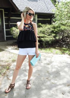 Summer outfit, turquoise clutch, embroidered black ruffle top Zara, white denim shorts, tassel earrings, leather sandals, tiaras and heels blog