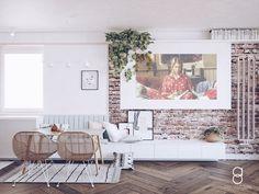 pastel interior / brick wall/ pastels living room / bridet jones Pastel Living Room, Pastel Interior, Brick Wall, Gallery Wall, Pastels, Frame, Anna, Budget, Home Decor