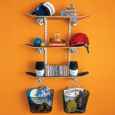 Weekend Projects : Cool DIY Skateboard Shelving for Boy's Room | Furnikidz.com | Best Children Furniture Design