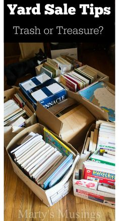 Yard Sale Tips: Trash or Treausre? Yard Sale Tips: Trash or Treasure? from Marty's Musings Yard Sale Organization, Organization Hacks, Organizing Life, Sell Your Stuff, Things To Sell, Yard Games For Kids, Garage Sale Tips, Garage Ideas, Garage Sale Pricing