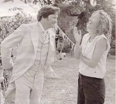 "Colin Firth joking between takes in ""The Importance of Being Earnest""."