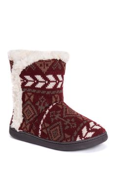 0c351d82b4a1c MUK LUKS Cheyenne Faux Fur Lined Slippers Knit Boots