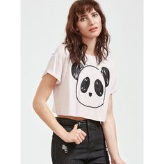 SheIn(sheinside) White Panda Print Crop T-shirt ($9) ❤ liked on Polyvore featuring tops, t-shirts, white, graphic t shirts, white tee, short sleeve tee, white crew neck t shirt and animal print t shirts