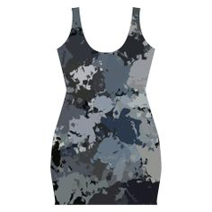 """""""Gray Splatter"""" Bodycon dress design by Khoncepts.  $57.49  Form fitting graphic art printed dress."""