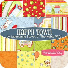 Happy Town Fat Quarter Bundle Jacquelynne Steves of The Noble Wife for Henry Glass Fabrics