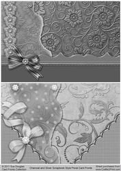 Charcoal And Silver Scrapbook Style Floral Card Fronts