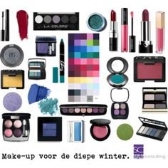 Make-upkleuren voor de diepe winter. Make-up colors for a deep winter.