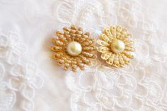 Pearl Clip On Earrings Gold Tone Floral Design by ESTATENOW