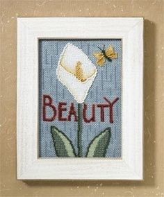 """DM307103 - Beauty (2007) - Mill Hill - Debbie Mumm Kits - Words For Life Kit Includes: Beads, 16ct Aida fabric, floss, needles and instructions. Mill Hill frame GBFRM17 sold separately Size: 4.5"""" x 6.5"""""""