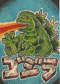 "GODZIRRA // Tattoo Flash Print 5"" by 7"" // Inspired by Godzilla // $10"