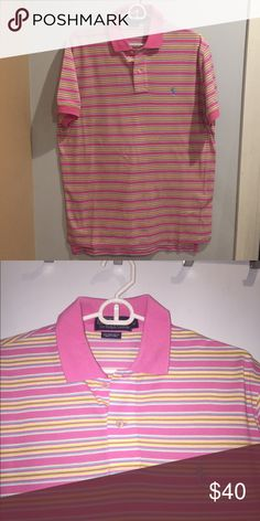 Men's Ralph Lauren Polo Shirt Pink with yellow,  baby blue and white polo shirt in excellent condition.  No stains Polo by Ralph Lauren Shirts Polos