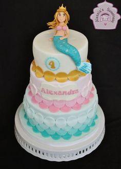 Little Mermaid Birthday Cake -tiered green, gold, pink.