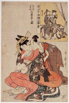 Couple de musicien ; Xuanzong et Yang Guifei, série : miroir des peintures classiques Vers 1798-1800. Yang Guifei. Yang Yuhuan (719-756), Concubine favorite de l'empereur Xuanzong des Tang (règne 712-756). Utamaro Kitagawa (1753-1806) estampe (technique)  Japon