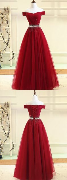Cheap Enticing Burgundy Prom Dresses, Burgundy Tulle Off Shoulder Long Prom Dress, Burgundy Evening Dress Cute Prom Dresses, Tulle Prom Dress, Pretty Dresses, Beautiful Dresses, Bridesmaid Dresses, Formal Dresses, Long Dresses, Long Gowns, Formal Prom