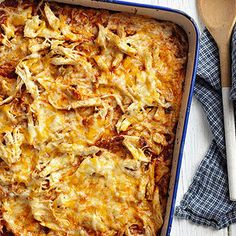 Boxed cornbread acts as the base for this simple chicken casserole. Cook the bread solo for 20 minutes before pouring on the enchilada sauce and scattering on the chicken and cheese.