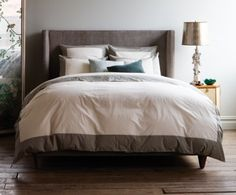 Modern Border Duvet Set- Smoke