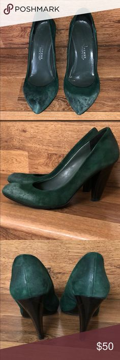 Green Leather Pump 💚 Just a fun green pump... perfect to wear it casual with jeans or even with a cute dress... purchased in Rome few years ago...the sole has a protective non slip rubber on it... Shoes Heels