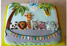 Here are some of the top saved cakes for circus baby shower cakes, zoo birthday cakes, and animal cakes See even. Jungle Birthday Cakes, Animal Birthday Cakes, Jungle Cake, First Birthday Cakes, Zoo Animal Cakes, Birthday Animals, 2nd Birthday, Baby Cakes, Baby Shower Cakes