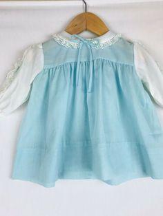 ea4481db652e Vintage Nanette Blue White Baby Dress Lace Peter Pan Collar 12-18 Months