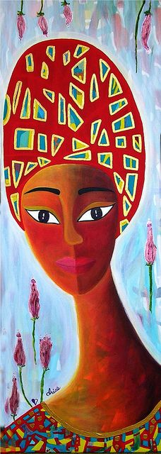 La femme au turban rouge / The woman with the red turban by info@irisepainting.ca