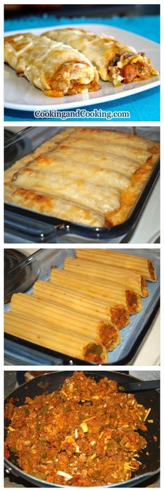 Manicotti Recipe _ If you are looking for a delicious stuffed pasta dish, make Beef Manicotti & enjoy. It is a tasty & easy main dish recipe idea. You can use cannelloni instead of manicotti. Beef Manicotti, Easy Manicotti Recipe, Meat Stuffed Manicotti Recipe, Stuffed Pasta Recipes, Beef Cannelloni Recipes, Stuffed Pasta Shells, Italian Recipes, Mexican Food Recipes, Gastronomia