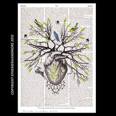 TREE OF LIFE art on dictionary book page art print collage anatomical heart woodland animals birds 8x10 dictionary print. $14.00, via Etsy.