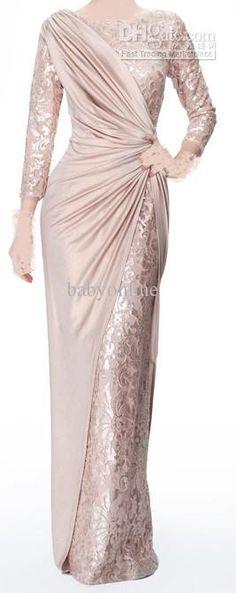 Großhandel sexy, lange ärmel chiffon juwel spitze perle rosa rüschen abendkleider mutter der braut kleid 339, $101.76 auf De.dhgate.com | DHgate