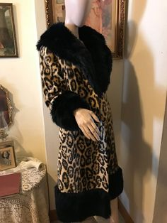 05e2285f3337c Vintage 60s STunning Old Hollywood Full Length SAFARI Sportowne Faux Fur  Black Trim Mod Ladies Coat Jacket Size Small Gift for Her