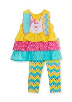 Rare Editions  2-Piece Tiered Bunny Tunic and Legging Set