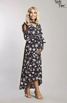 021ffa0813951 Katie Piper Want That Trend Maternity Ruffle Maxi Cold Shoulder Dress Size  12 #fashion #