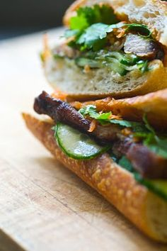 Pork Belly Bahn Mi with Spicy Cucumbers