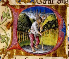 """Letter """"D"""" - fool dressed in torn clothes, city behind. Italian 15th century"""