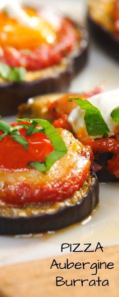 Faire une pizza l'aubergine tomate burrata, c'est simple ! Idéal pour l'apéritif.
