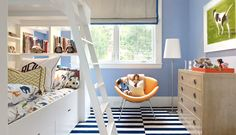 kids room light blue stripe rug bunk beds bedroom roman shade ladder cococozy martha angus