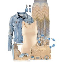 """Maxi Skirt & Denim"" by jaimie-a on Polyvore"
