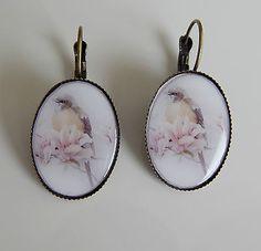 boucles d'oreilles argenté cabochon 25x18mm impression photo oiseaux  €4.80