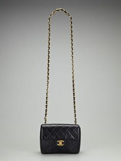 d0160ad024c425 Vintage Black Quilted Lambskin Leather 2.55 Mini Flap Shoulder/Crossbody Bag  by Chanel on Gilt